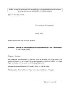 Lettre De Demande En Vue De Beneficier Du 1er Conge Parental Consecutivement Au Conge De Maternite Inspection Du Travail Et Des Mines Luxembourg