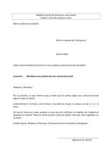 Lettre De Demission Avec Preavis Inspection Du Travail Et Des Mines Luxembourg