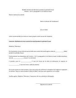 Demission Pendant La Periode D Essai Inspection Du Travail Et Des